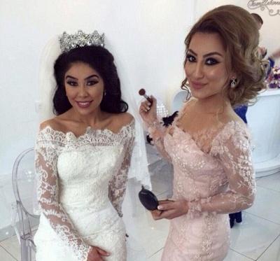 Pink Bridesmaid Dresses Long Sleeves Lace Mermaid Dresses For Bridesmaids_4