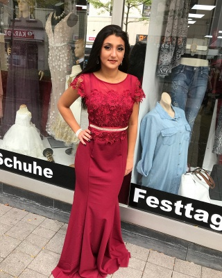 Elegant Evening Dresses Wine Red With Short Sleeves Lace Prom Dresses Online_1