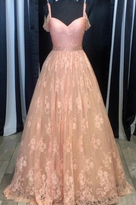 Pink Evening Dresses Lace A Line Long Prom Dresses Evening Wear Online_1