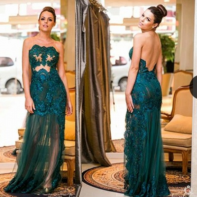 Sexy Turquoise Evening Dresses Long Lace Beaded Floor Length Evening Wear Prom Dresses_2
