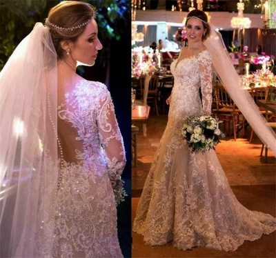 Fashion White Wedding Dresses With Sleeves Lace A Line Wedding Dresses Online_2
