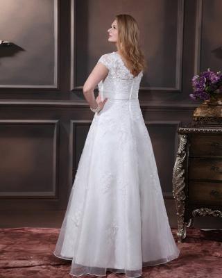 Übergröße Brautkleider Weiß Mit Spitze Hochzeitskleider Große Größe Organza_5