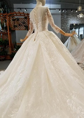 Luxury wedding dresses with sleeves | A line wedding dresses with lace_4