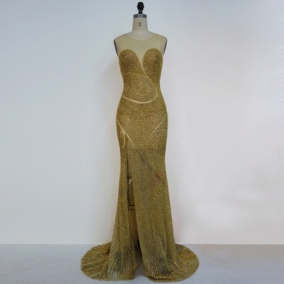 Luxury Golden Evening Dresses Long Pelren Floor Length Aiball Dresses Prom Dresses Cheap_3