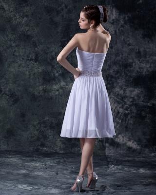 schlicht Weiß Brautkleider Kurz Chiffon Perlen Mini Brautmoden Hochzeitskleider_2