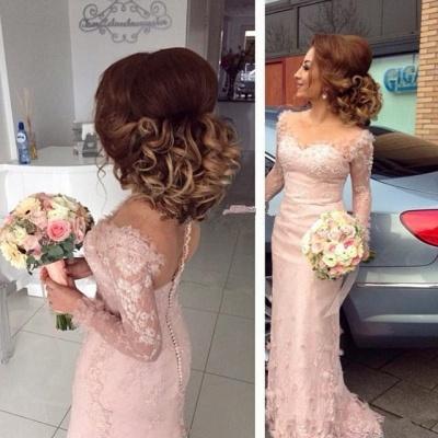 Pink Bridesmaid Dresses Long Sleeves Lace Mermaid Dresses For Bridesmaids_3