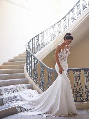 Elegante Brautkleid Weiß   Hochzeitskleid Meerjungfrau Mit Spitze_1