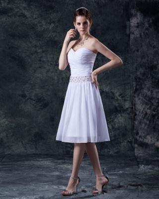 schlicht Weiß Brautkleider Kurz Chiffon Perlen Mini Brautmoden Hochzeitskleider_5