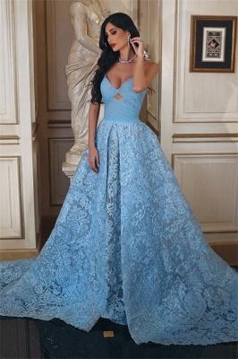 Günstige Abendkleider Lang Blau A Linie Spitze Abendmoden Online_1