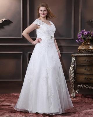 Übergröße Brautkleider Weiß Mit Spitze Hochzeitskleider Große Größe Organza_3