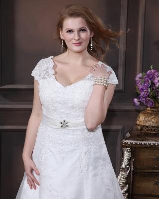 Übergröße Brautkleider Weiß Mit Spitze Hochzeitskleider Große Größe Organza_2