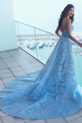 Günstige Abendkleider Lang Blau A Linie Spitze Abendmoden Online_2