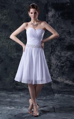 schlicht Weiß Brautkleider Kurz Chiffon Perlen Mini Brautmoden Hochzeitskleider_1