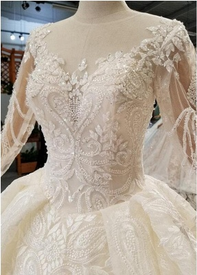 Luxury wedding dresses with sleeves | A line wedding dresses with lace_2