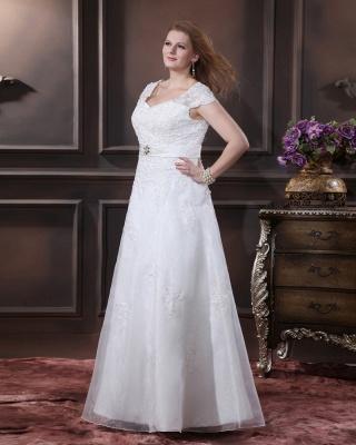 Übergröße Brautkleider Weiß Mit Spitze Hochzeitskleider Große Größe Organza_4