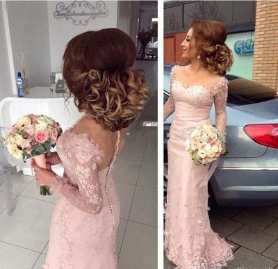 Pink Bridesmaid Dresses Long Sleeves Lace Mermaid Dresses For Bridesmaids_2
