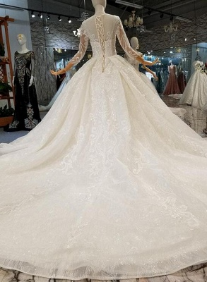 Luxury wedding dresses with sleeves | A line wedding dresses with lace_3