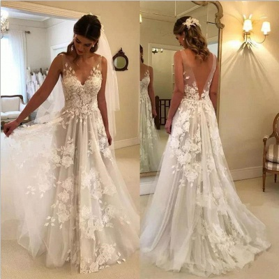 Elegant Brautkleider Weiße Günstig Spitze Hochzeitskleider Online Shop_3