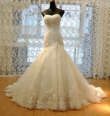 Wedding dresses cream lace mermaid wedding dresses with train bridal dresses online_3