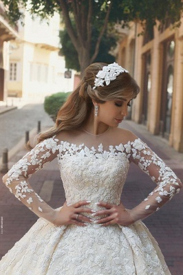 Sexy wedding dress with lace sleeves princess wedding dress with train_3