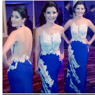 Elegante Abendkleider Lang Blau Applikationnen Bodenlang Abendmoden Ballkleider_2