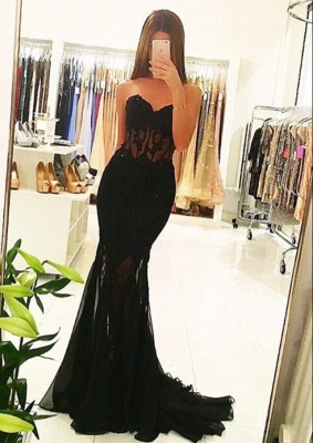 Black Evening Dresses Long Cheap Lace Mermaid Chiffon Evening Wear Prom Dresses_1