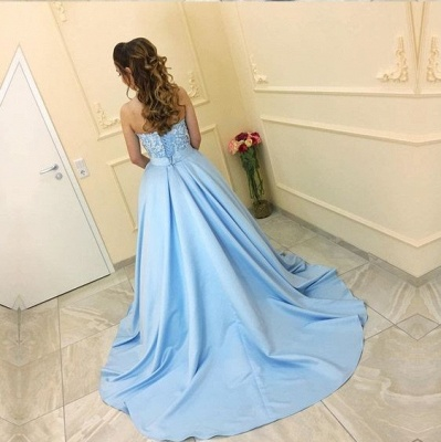 Blue prom dresses long with lace satin princess prom dresses cheap_3