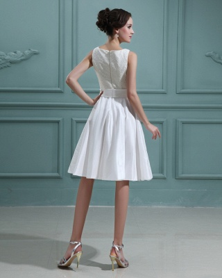 White Wedding Dresses Short With Lace A Line Taffeta Bridal Wedding Gowns_3