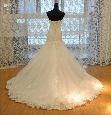 Wedding dresses cream lace mermaid wedding dresses with train bridal dresses online_4