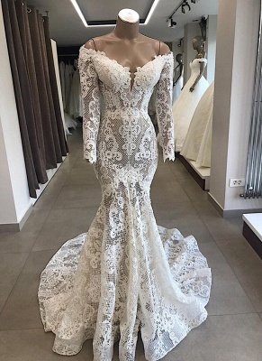 Mermaid lace wedding dress | Wedding dresses with sleeves cheap_1