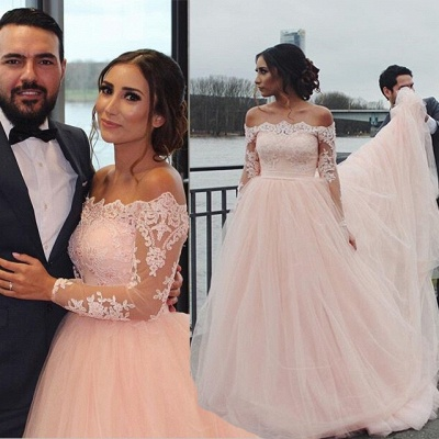 Pink wedding dresses long sleeves with lace tulle bridal wedding dresses cheap floor length_3
