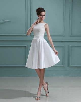 White Wedding Dresses Short With Lace A Line Taffeta Bridal Wedding Gowns_5