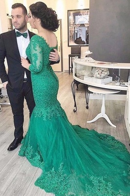 Green Evening Dresses Lace With Sleeves Mermaid Prom Dresses Evening Wear_2
