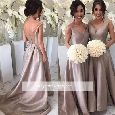 Bridal Long Bridesmaid Dresses Cheap Straps A Line Dresses For Bridesmaids_1