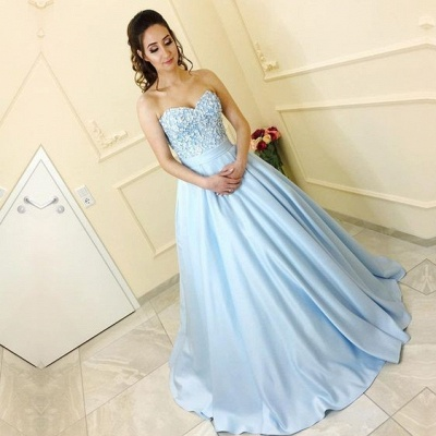 Blue prom dresses long with lace satin princess prom dresses cheap_2