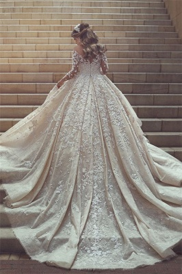 Sexy wedding dress with lace sleeves princess wedding dress with train_1