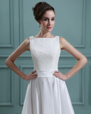 White Wedding Dresses Short With Lace A Line Taffeta Bridal Wedding Gowns_4