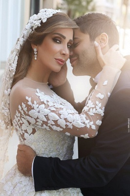 Sexy wedding dress with lace sleeves princess wedding dress with train_2