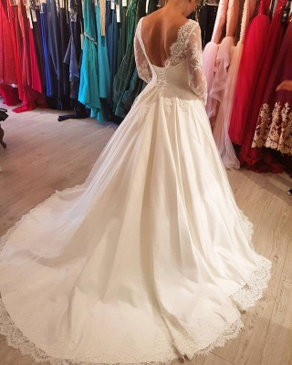 Designer Wedding Dresses With Sleeves | Lace wedding dresses A line_3