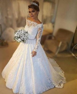 Modern Weiße Hochzeitskleider Mit Ärmel A Linie Bodenlang Brautkleider Günstig Online_1
