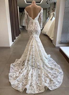 Mermaid lace wedding dress | Wedding dresses with sleeves cheap_2