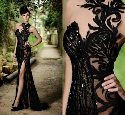 Elegante Abendkleider Lang Schwarz | Abiballkleider mit Spitze_5