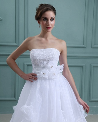 Schlicht Brautkleider Kurz Weiß Mit Spitze Organza Brautmoden Hochzeitskleider_3