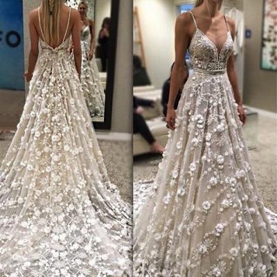 Modisch Brautkleider Weiß Spitze Träger A Linie Brautmoden Hochzeitskleider Online_2
