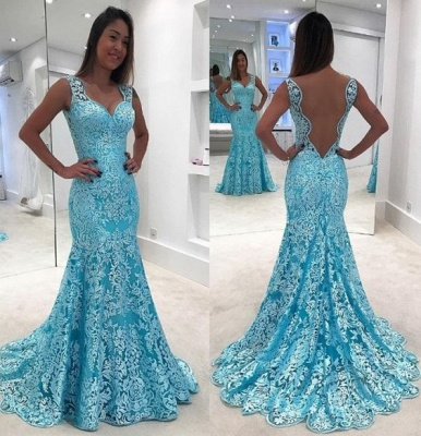 Blue evening dresses long lace straps mermaid evening wear cheap online_2