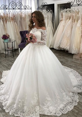 Fashion wedding dresses with sleeves | Lace bridal wear online_4