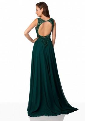 Fashion Dunkel Grüne Abendkleider Lang Chiffon Mit Spitze Abiballkleider Günstig_2