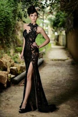 Elegante Abendkleider Lang Schwarz | Abiballkleider mit Spitze_4