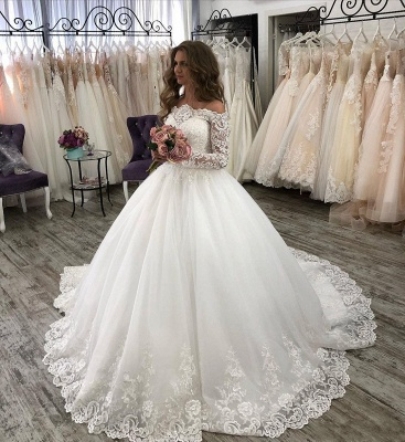 Fashion wedding dresses with sleeves | Lace bridal wear online_1