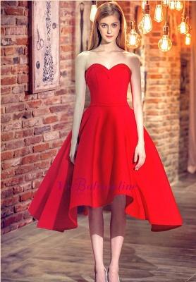 Rote Cocktailkleider Kurz Satin A Line Herz Ausschnitte Knielange Abendkleider Abendmode_4